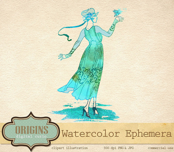 Watercolor Ephemera Vintage Illustra