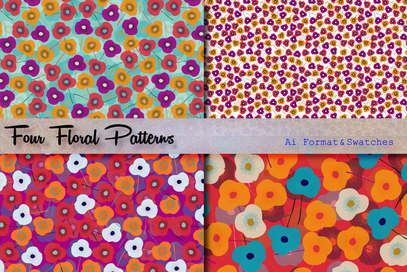 Four Floral Patterns Swatches
