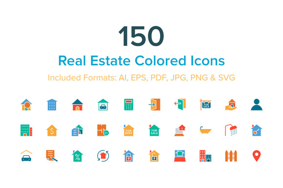 150 Real Estate Colored Icons