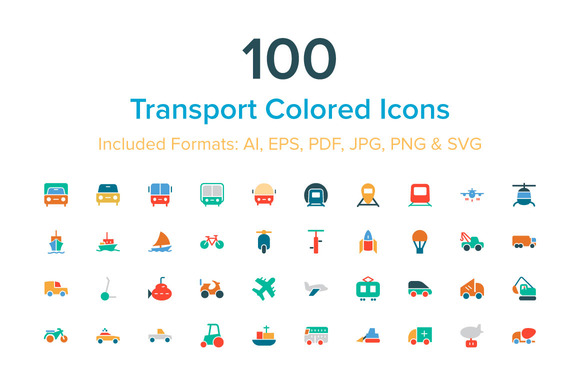 100 Transport Colored Icons