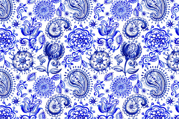 2 Seamless Vector Watercolor Pattern
