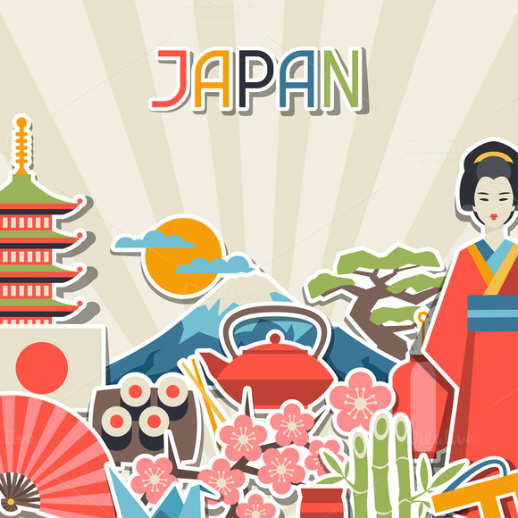 Japan Sticker Backgrounds