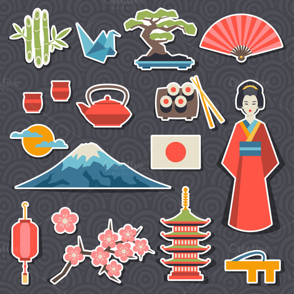 Japan Stickers And Patterns