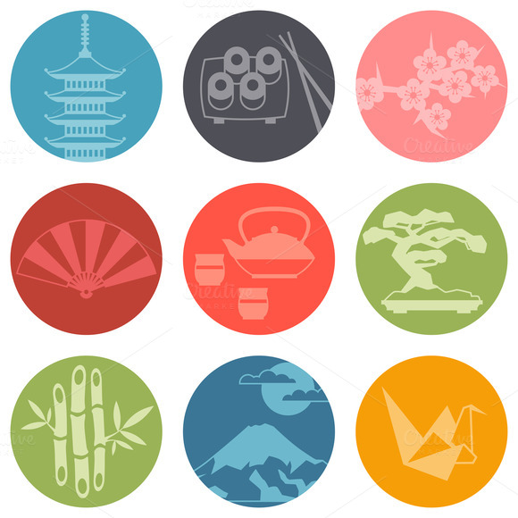 Japan Symbols And Background Set