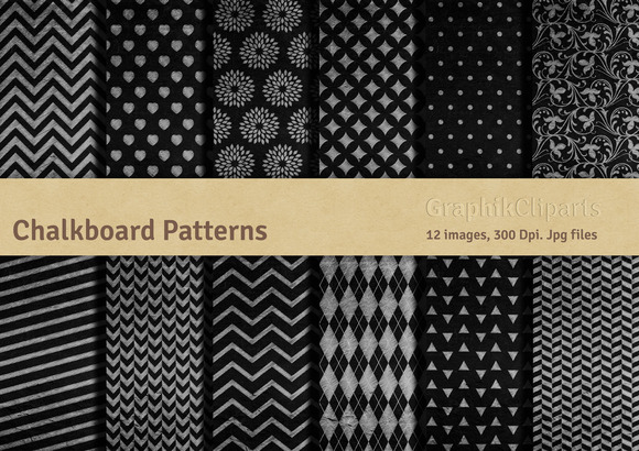 Chalkboard Patterns Digital Papers