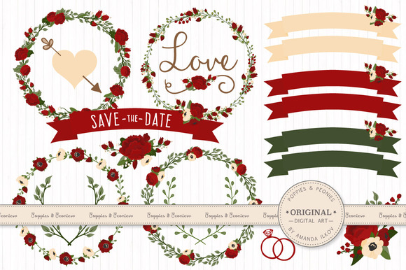 Christmas Floral Clipart Vectors