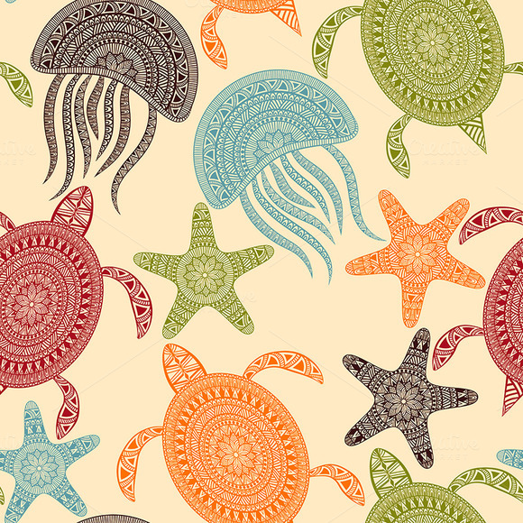 Vector Seamless Pattern With Turtles