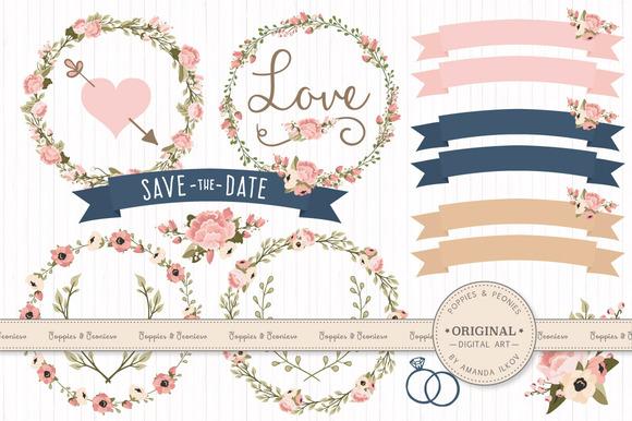 Wedding Floral Clipart Vectors