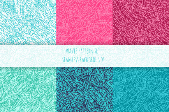 Hand Drawn Wave Seamless Patterns