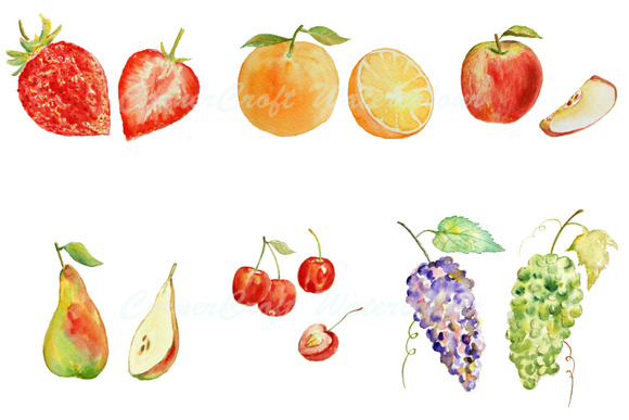 Watercolor Fruit Clipart Set 1