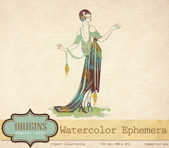 Watercolor Vintage Fashion Clipart