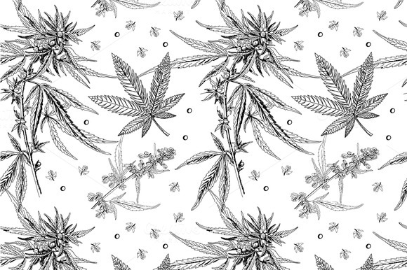 Seamless Pattern Hemp Marijuana