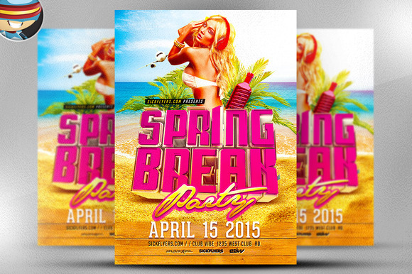 3D Spring Break Flyer Template