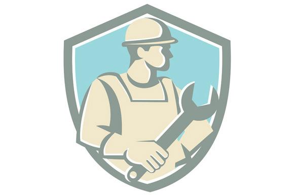 Construction Worker Spanner Shield C