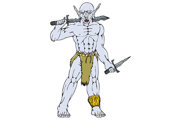 Orc Warrior Sword Dagger Cartoon