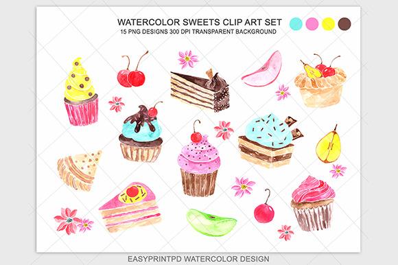 Watercolor Cupcake Sweets Clip Art