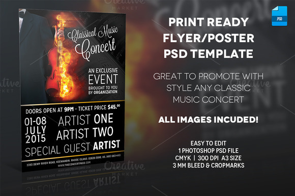 Classic Music Poster Print Template