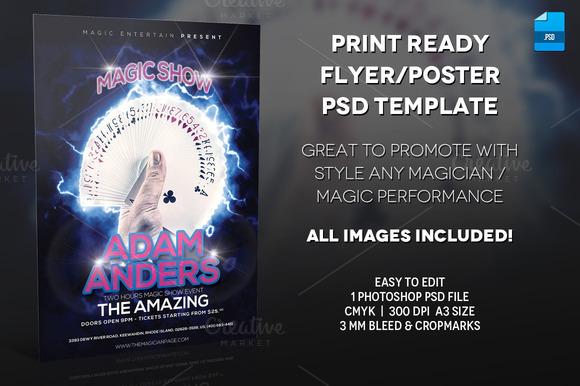 Magician Poster Print Template