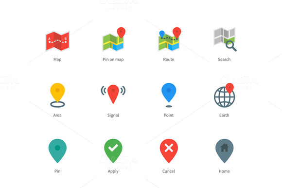 Map GPS And Navigation Color Icons