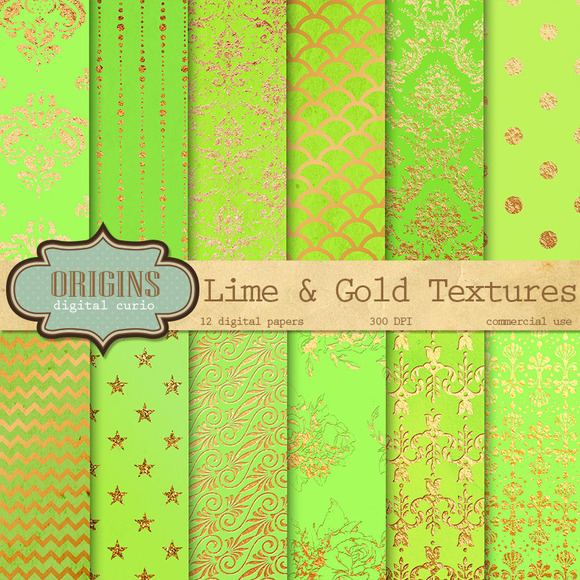 Lime And Gold Textures Digital Paper