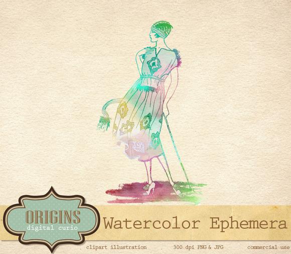 Watercolor Ephemera Fashion Clipart