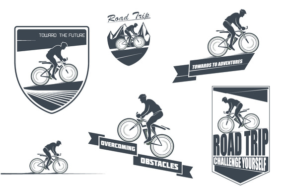 Vector Labels Of The Cyclist