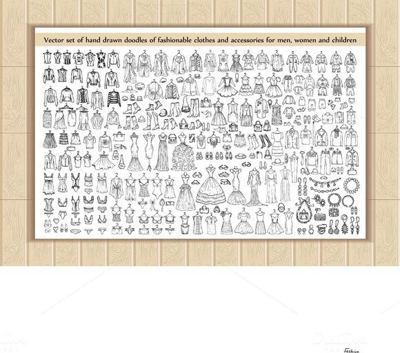 Set Of Clothes Accessories Doodles