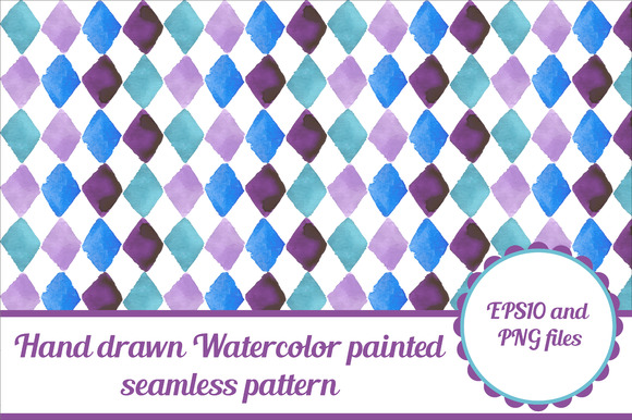 Rhombus Seamless Watercolor Pattern