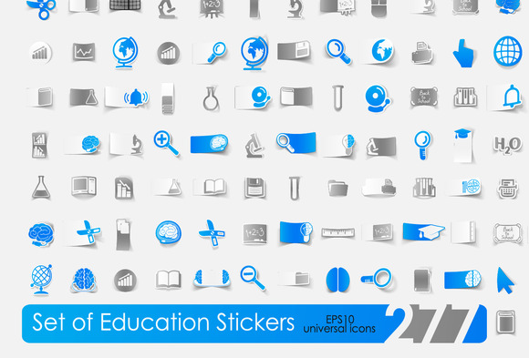 277 Icons Education Stickers