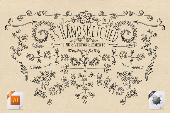 45 Handsketched Vector Elements