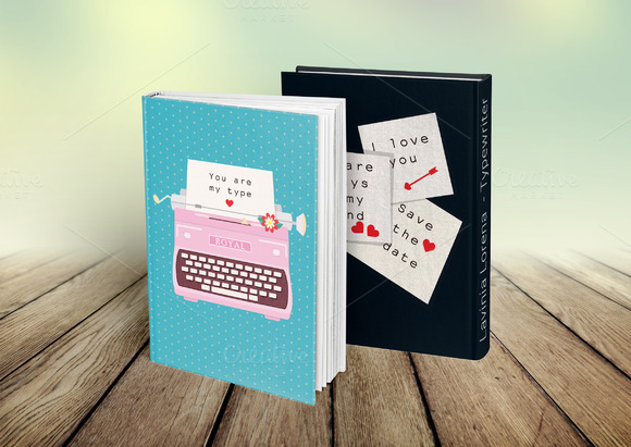 Two Valentines Postcard Typewriters