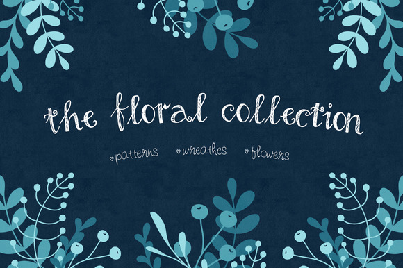 Floral Elements Seamless Patterns