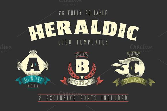 26 Heraldic Logo Templates 2 Fonts