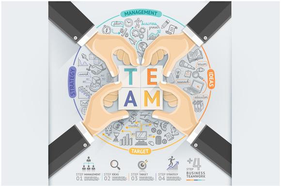 Business Hands Teamwork Infographics