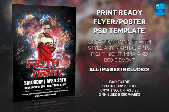 MMA Boxe Poster Print Template