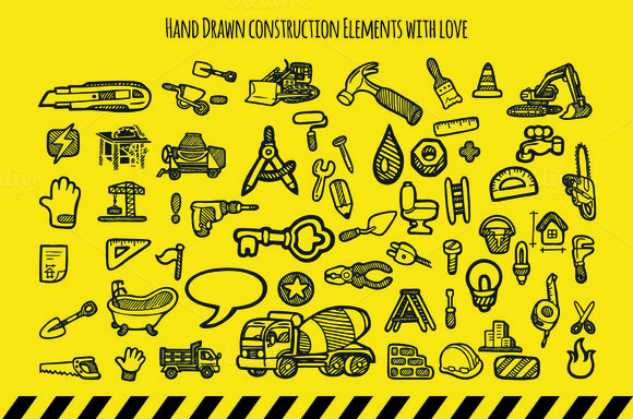 Hand Drawn Construction Elements