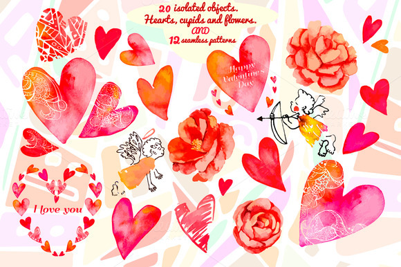 Watercolor Hearts Flowers Cupids