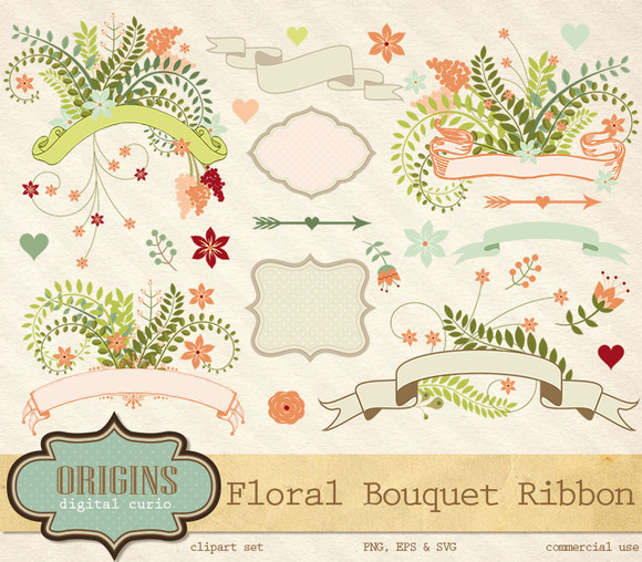 Floral Bouquet Ribbon Clipart