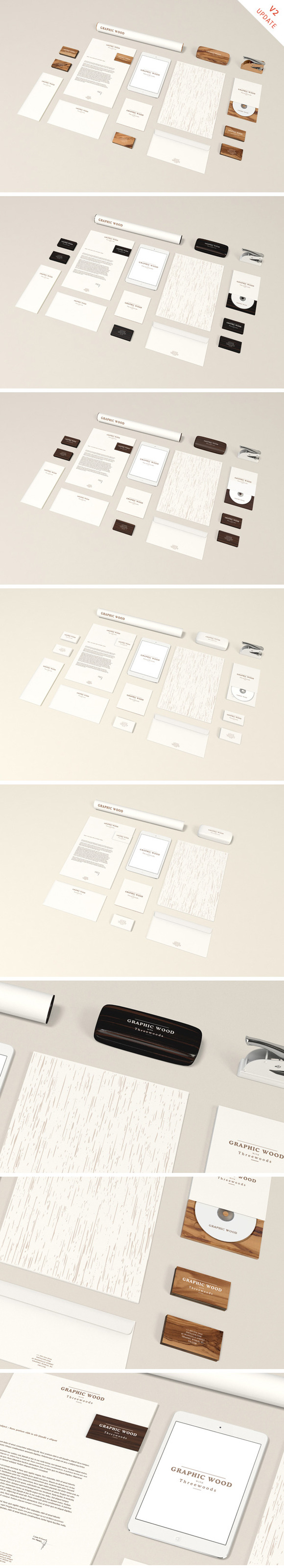 Stationery MockUp Wood