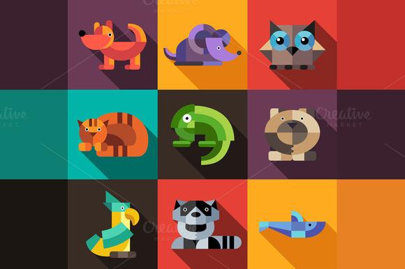 Flat Design Geometric Animals Icons