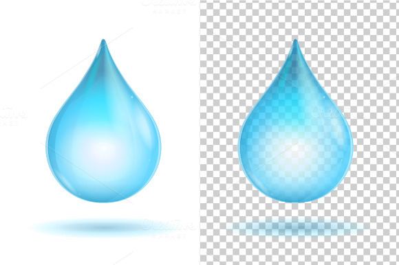Vector Water Transparent Drops