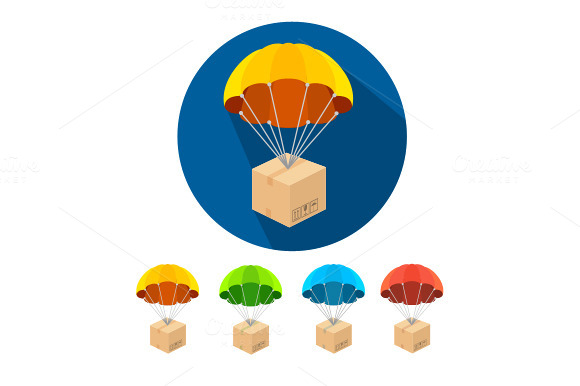Vector Parachutes Icons Set