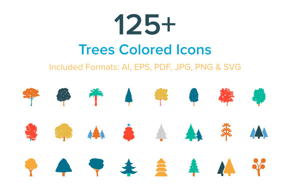 125 Trees Colored Icons
