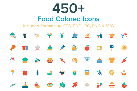 450 Food Colored Icons
