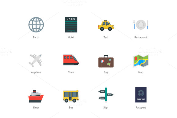 Travel Color Icons