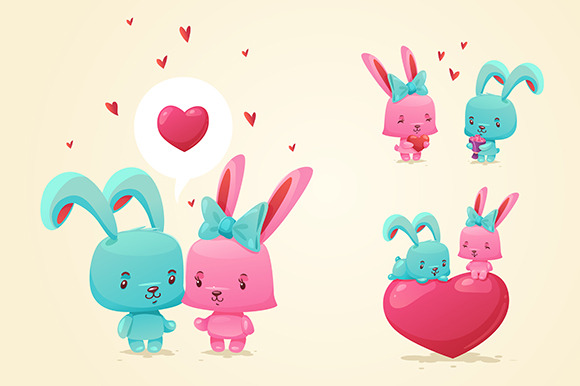 Set Of Cute Happy Rabbits