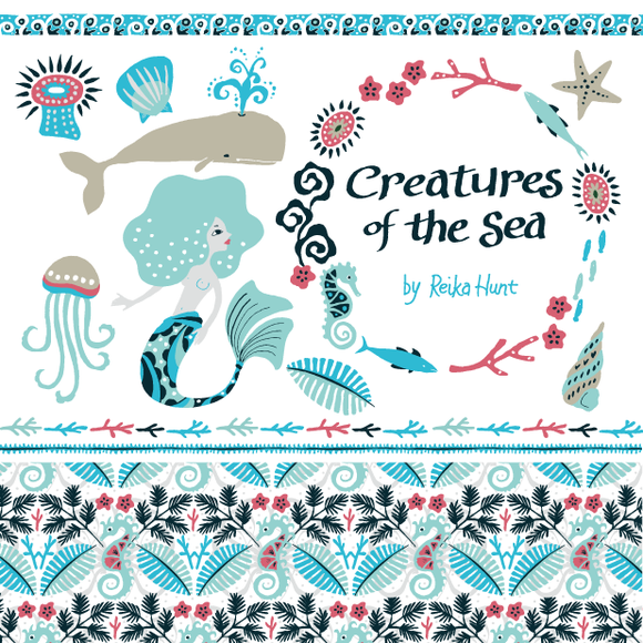 Creatures Of The Sea Set Vector
