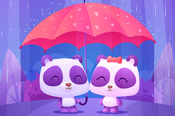 Cute Pandas Under Umbrella