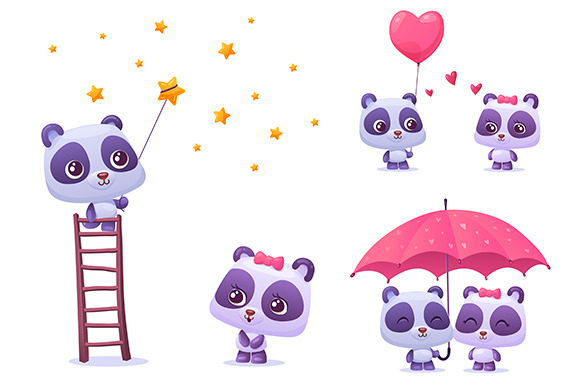 Set Of Couple Cute Panda