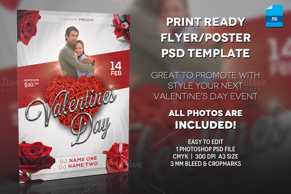 Valentine Day Poster Print Template